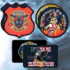 Custom Fire Department Adhesive Black Border Patches - SBL230-SBL241 - SUB