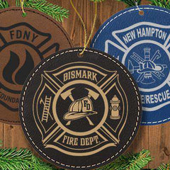 Laser Engraved Accesory Round Leather Ornament - GFT1091 - LZRFire Department Clothing
