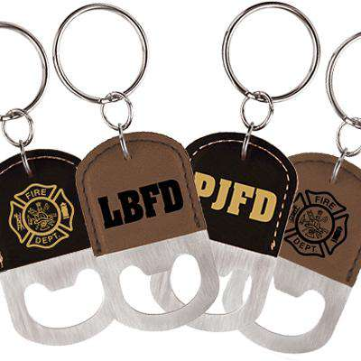 Oval Light Brown Laserable Leatherette Bottle Opener Keychain - LZR