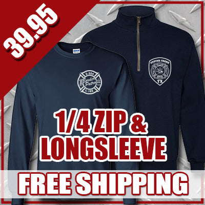 Winter Special - Personal 1/4-Zip Sweatshirt & Longsleeve T-shirt - G998 & G240Fire Department Clothing