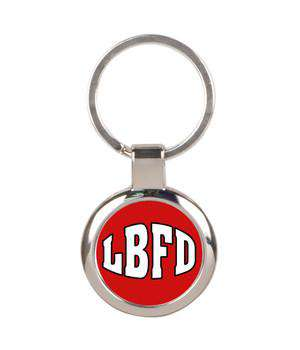 Fire Department Round Silver Keychain