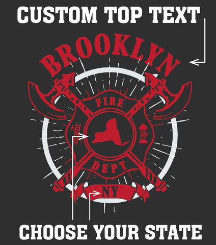 "Customization Custom Printed Firefighter Shirt - ""City & State"" - Gildan 200 - DTGFire Department Clothing"