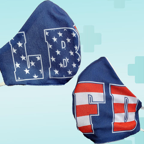 Fire Department Stars and Stripes Block Letters Face Mask Covering - Made in USA - 100% Cotton - Poppi 2.0 - SUB