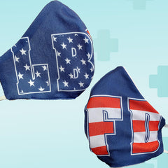Fire Department Stars and Stripes Block Letters Face Mask 2 Pack - Poppi 2.0 - Made in USA - 100% Cotton - SUBFire Department Clothing