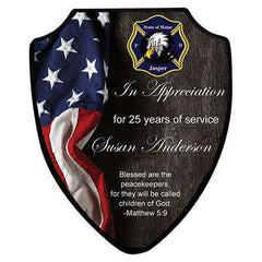 Firefighter or Police Award Plaque - Eagle Flag and Shield Full Color Print - UN5616 - SUBFire Department Clothing