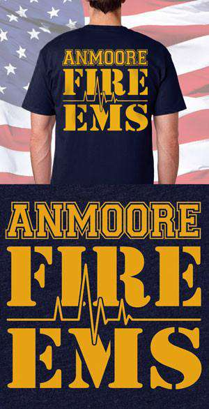 aeb520ed Screen Print Design Anmoore Fire Department & EMS Back DesignFire Department  Clothing