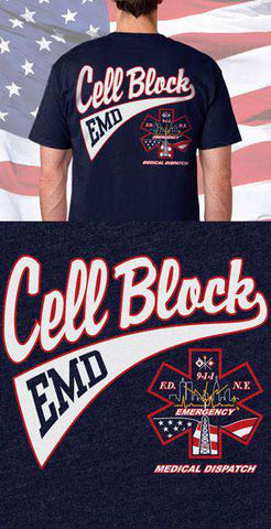 Screen Print Design Cell Block EMD Back DesignFire Department Clothing