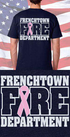 Screen Print Design Frenchtown Fire Department Awareness Ribbon Back DesignFire Department Clothing