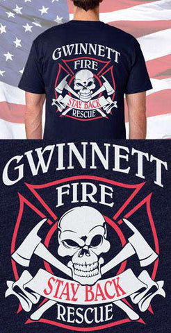 Gwinnett Fire Department Skull and Ax Back Design