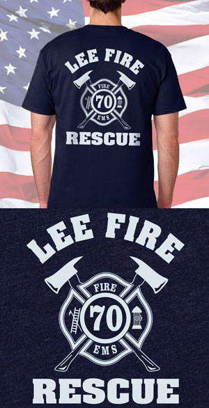 Screen Print Design Lee Fire Rescue Back DesignFire Department Clothing