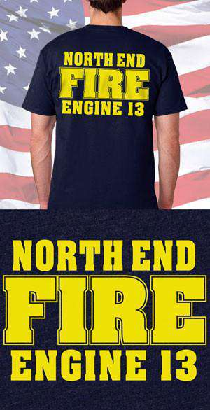 Screen Print Design North End Fire Department Back DesignFire Department Clothing