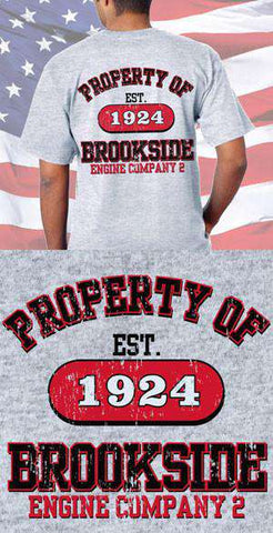 Screen Print Design Brookside Engine Company Property Of Back DesignFire Department Clothing