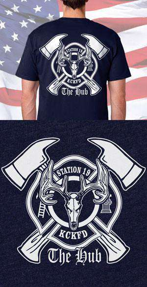 Screen Print Design KCKFD Stag Back DesignFire Department Clothing
