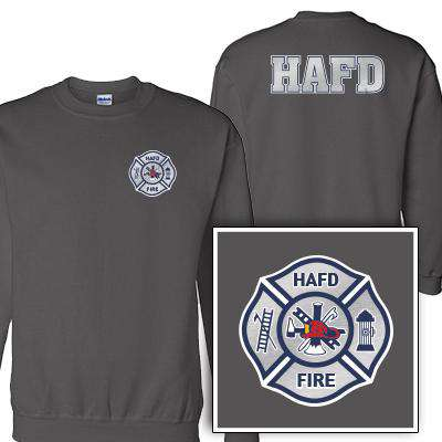 Customization Custom Printed Silver Foil Maltese Pattern Crewneck Sweatshirt - Gildan G120 - DIGFire Department Clothing