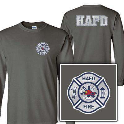 Customization Custom Printed Silver Foil Maltese Pattern Long Sleeve Shirt - Gildan G240 - DIGFire Department Clothing