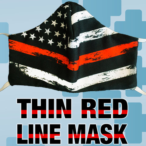 Fire Department Thin Red Line Flag Black Face Mask Covering - Made in USA - 100% Cotton - Poppi 2.0 - SUB