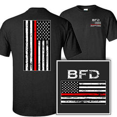 Customization Printed Distressed Red Stripe Flag T-Shirt - Gildan G200 DTGFire Department Clothing