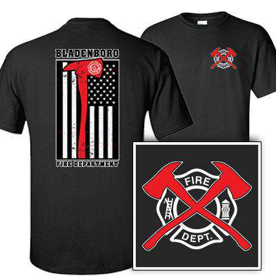 Printed Red Striped Axe Flag T-Shirt - Gildan G200 - DTG