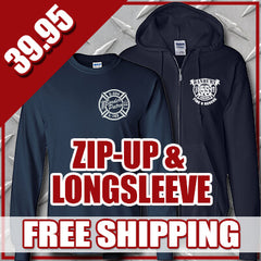 Winter Special - Personal Zip-up Hooded Sweatshirt & Longsleeve T-shirt - G126 & G240Fire Department Clothing
