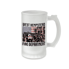 Frosted Mug - Antique Poster with Flag Background - SG16F - SUBFire Department Clothing