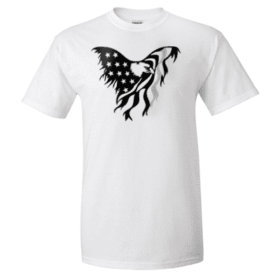 "Printed Thin Gray Line Corrections Officer Shirt - ""Patriotic Eagle"" - Gildan G200 - DTGFire Department Clothing"