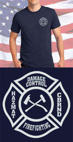 Screen Print Design US Navy Damage Control Maltese CrossFire Department Clothing