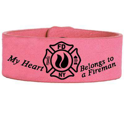 My Heart Belongs to a Fireman - Faux Leather Cuff Bracelet - LZRFire Department Clothing