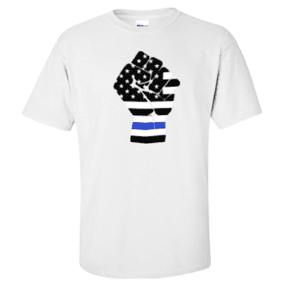 "Printed Thin Blue Line Police Officer Shirt - ""Raised Fist"" - Gildan G200 - DTG"