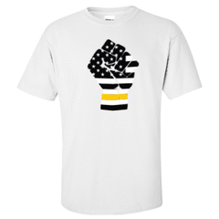 "Printed Thin Gold Line Dispatcher Shirt - ""Raised Fist"" - Gildan G200 - DTGFire Department Clothing"