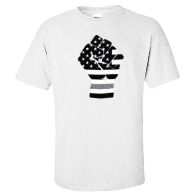 "Printed Thin Gray Line Corrections Officer Shirt - ""Raised Fist"" - Gildan G200 - DTG"