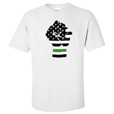"Printed Thin Green Line EMS Shirt - ""Raised Fist"" - Gildan G200 - DTGFire Department Clothing"