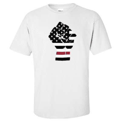 "Printed Thin Red Line Firefighter Shirt - ""Raised Fist"" - Gildan G200 - DTG"
