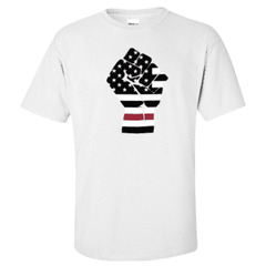 "Printed Thin Red Line Firefighter Shirt - ""Raised Fist"" - Gildan G200 - DTGFire Department Clothing"