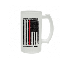 Frosted Mug with Distressed American Flag Design - SG16F - SUBFire Department Clothing
