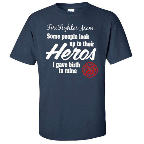 "Printed Firefighter Shirt - ""Firefighter Mom"" - Gildan 200 - DTG"