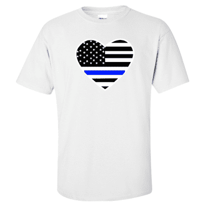 "Printed Thin Blue Line Police Officer Shirt - ""Patriotic Heart"" - Gildan G200 - DTG"