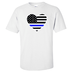 "Printed Thin Blue Line Police Officer Shirt - ""Patriotic Heart"" - Gildan G200 - DTGFire Department Clothing"
