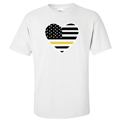 "Printed Thin Gold Line Dispatcher Shirt - ""Patriotic Heart"" - Gildan G200 - DTGFire Department Clothing"