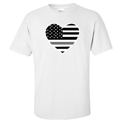 "Printed Thin Gray Line Corrections Officer Shirt - ""Patriotic Heart"" - Gildan G200 - DTG"