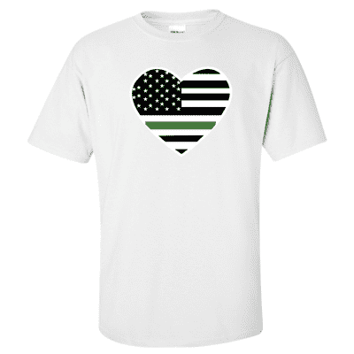 "Printed Thin Green Line EMS Shirt - ""Patriotic Heart"" - Gildan G200 - DTGFire Department Clothing"