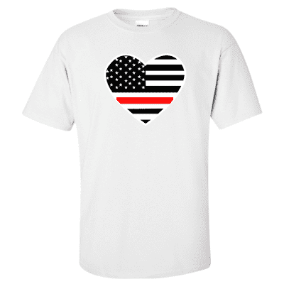 "Printed Thin Red Line Firefighter Shirt - ""Patriotic Heart"" - Gildan G200 - DTG"