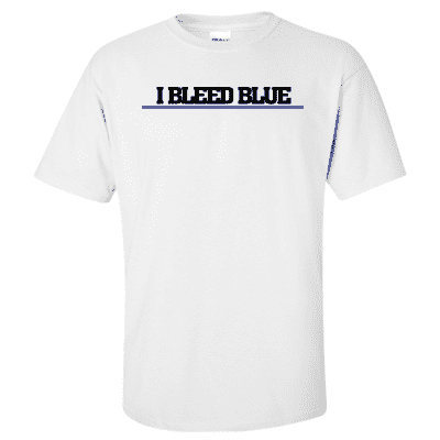 "Printed Thin Blue Line Police Officer Shirt - ""I Bleed Blue"" - Gildan G200 - DTGFire Department Clothing"