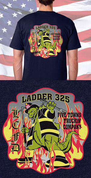 Screen Print Design LCFD FlameZilla Back DesignFire Department Clothing