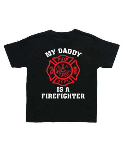 "Printed Firefighter Shirt - ""My daddy is a firefighter"" - Gildan 200B - CAD"