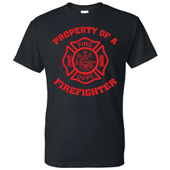 "Printed Firefighter Shirt - ""Property of a firefighter"" - Gildan 200 - CADFire Department Clothing"
