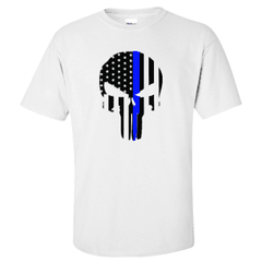 "Printed Thin Blue Line Police Officer Shirt - ""Patriotic Skull"" - Gildan G200 - DTGFire Department Clothing"