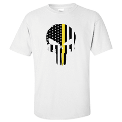 "Printed Thin Gold Line Dispatcher Shirt - ""Patriotic Skull"" - Gildan G200 - DTGFire Department Clothing"