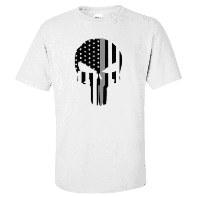 "Printed Thin Gray Line Corrections Officer Shirt - ""Patriotic Skull"" - Gildan G200 - DTG"