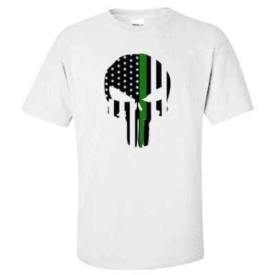 "Printed Thin Green Line EMS Shirt - ""Patriotic Skull"" - Gildan G200 - DTGFire Department Clothing"
