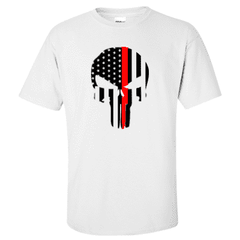 "Printed Thin Red Line Firefighter Shirt - ""Patriotic Skull"" - Gildan G200 - DTGFire Department Clothing"